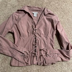Pink business lace up front blouse